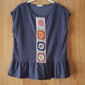 Dolman top with crochet detail